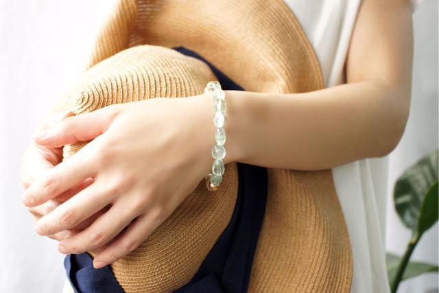 再販】真珠とグリーンフローライトのブレスレット 〜Cilla