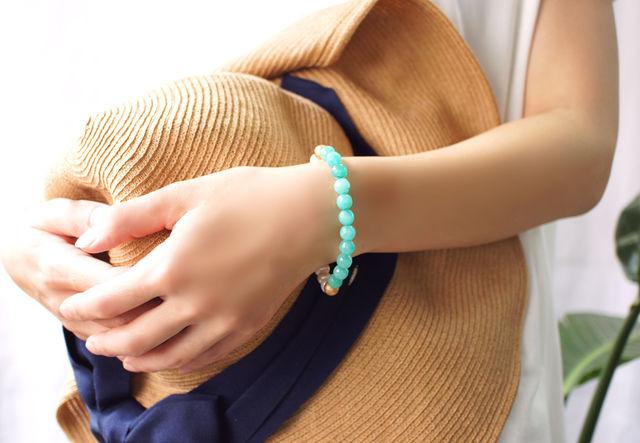 再販】真珠とグリーンジェイドのブレスレット 〜Louisa