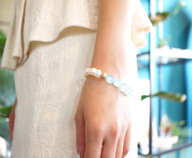 再販】真珠とブルーカルセドニーのブレスレット 〜Johanna