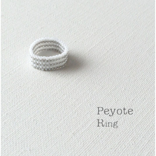 【再販】ビーズリング  White and gray border ☆Peyote Ring