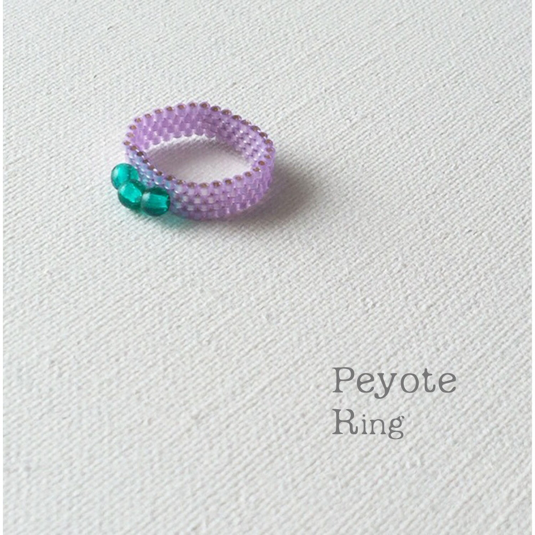 ビーズリング Purple and Emerald ☆Peyote Ring