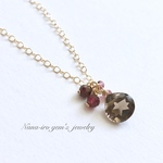 *再販*14kgf smokyquartz × garnet necklace