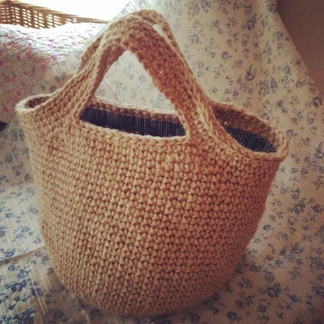 かごバッグ【丸底・シンプルな麻ひも編み】