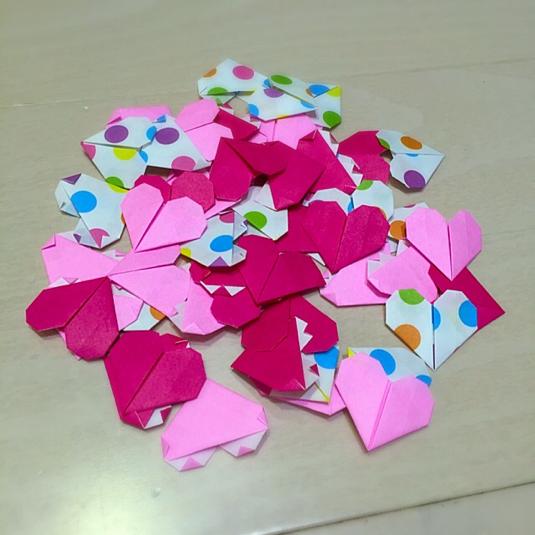 クリスマス 折り紙 折り紙 ハート : minne.com