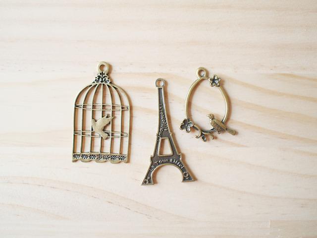 Vintage Charm set, Paris, Bird cage, little bird