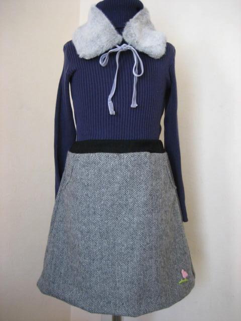 秋みつけた。 ツイードウール 女児台形スカート