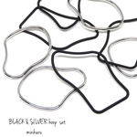 8pcs) BLACK & SILVER hoop set