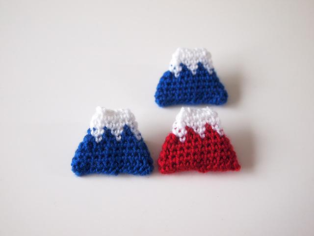 受注生産★手編みの富士山のブローチ【全2種】
