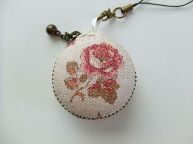 薔薇1/マカロンコインケース4cm(マカロンポーチ)ストラップ付