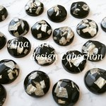 【4個】20㎜  black design cabochon