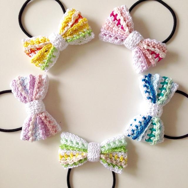 マルチボーダー編みリボンのヘアゴム(パステルカラー)