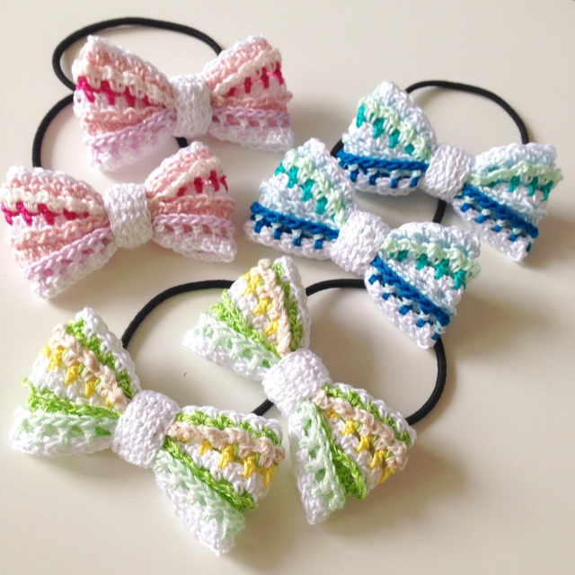 【オーダー品】マルチボーダー編みリボンのヘアゴム(6個セット)