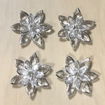 SILVER CLEAR FLOWER CABOCHONS