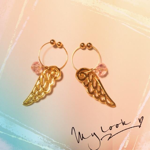 天使の羽根イヤリング♪ピンク