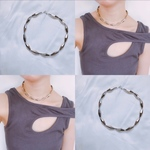 ♡No.172♡silver metallic choker