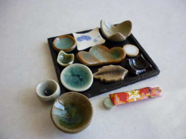 ミニチュア陶器☆ごちそうのお膳