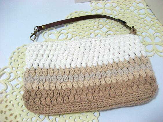玉編みのファスナーポーチ <Lサイズ>