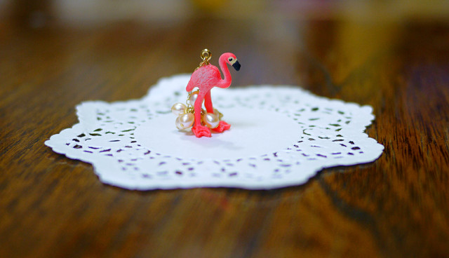(Sold out)animal片耳ピアス【Flamingo2】