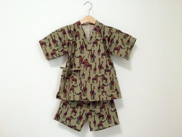 綿麻キャンバスサファリ柄甚平 サイズ88〜96