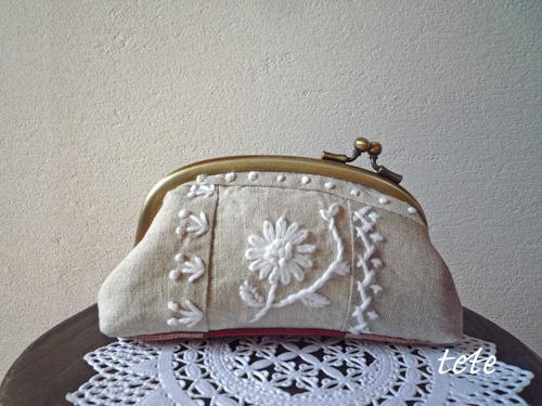 刺繍がまくち 横ヒネリ(クレイジー/ホワイト)