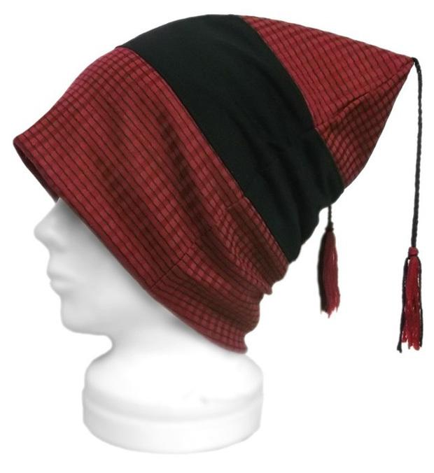 変り織ボーダーニット/スクエアワッチキャップ(ゆったり)◆赤黒
