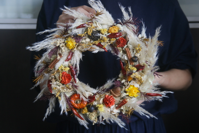 Autumn wreath dryflower