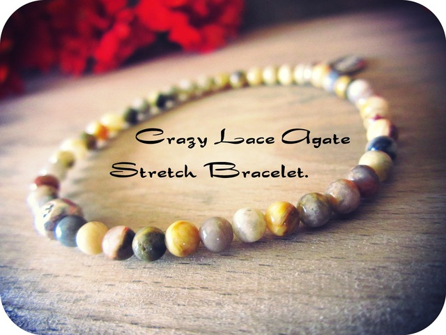 Crazy Lace Agate Stretch Bracelet.