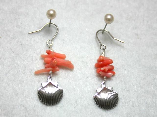 サンゴと貝のピアス
