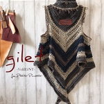 ✲VolilErNT✲Autumn gilet - PimaCotton & Silk - (Wash Black) /ジレ/ベスト/コットン/シルク/デニム