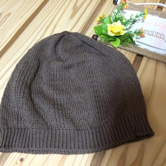 タックレース編み帽子 ミルクココア
