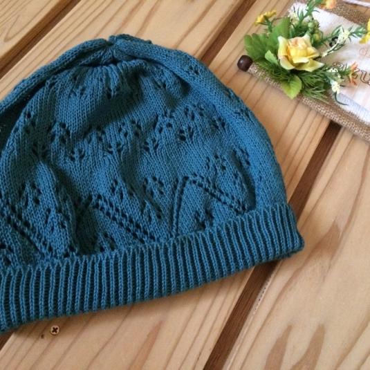 透かし編み帽子 ターコイズ