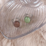 vintage cabochon silver ring-brown or green