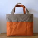 【受注製作】「bicolor tote M」 Beige × Orange