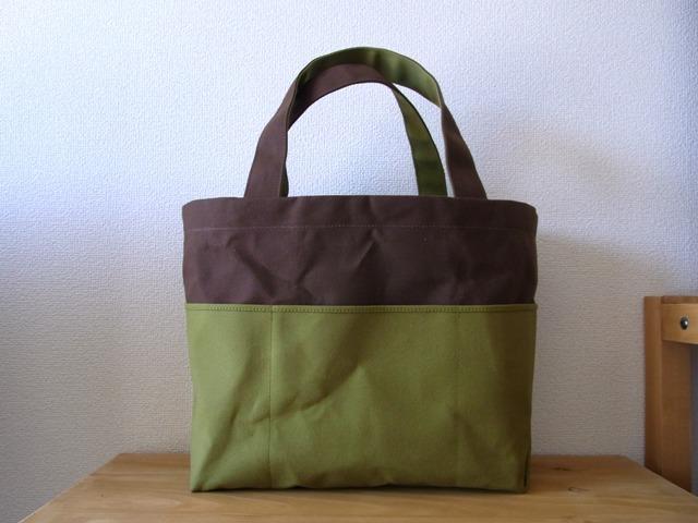 「bicolor tote M」 Brown × Green