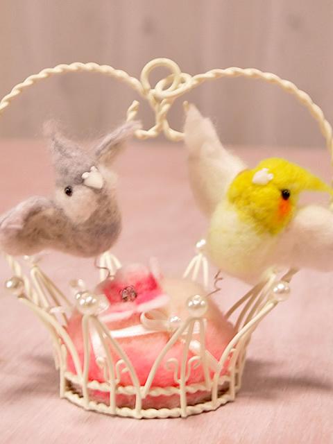 小鳥のリングピロー オカメインコ