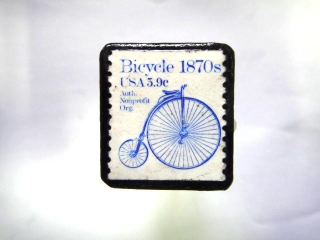 アメリカ 自転車切手ブローチ998