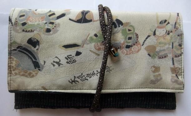 着物リメイク 麻の上布と羽織裏で作った和風財布 394