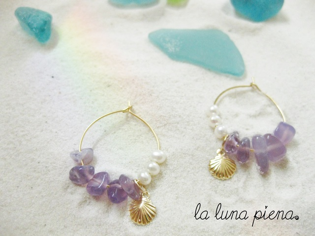 ◇K14GF◇ mermaidピアス〜purple Chalcedony〜