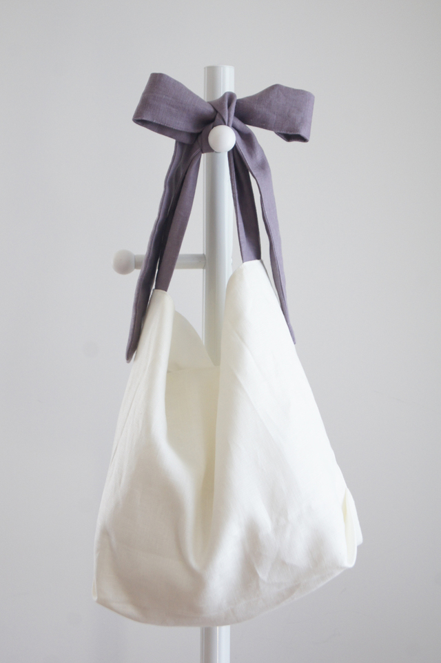 【追加】リネンリボンのバッグ(シックパープル )