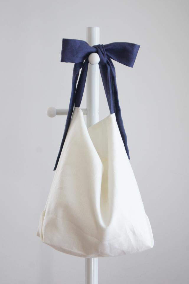 【最終追加】リネンリボンのバッグ(ネイビーパープル )