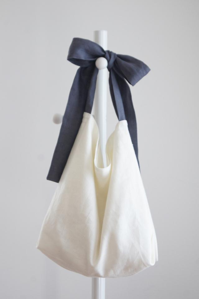 【最終追加】リネンリボンのバッグ(ブルーグレー )