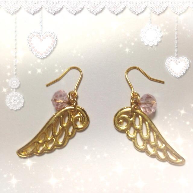 天使の羽根ピアス♪ピンク