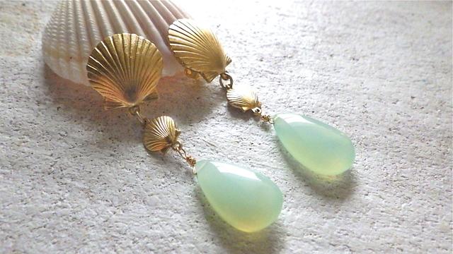 ☆再販☆ Mermaid earrings〜アクアカルセドニーイヤリング