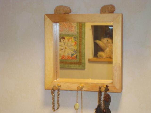 フック付壁掛け木製ミラー オリジナルハンドメイド!