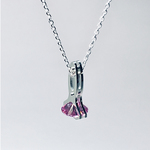 Parallel Lines CZ pendant Silver Pink Cubiczirconia