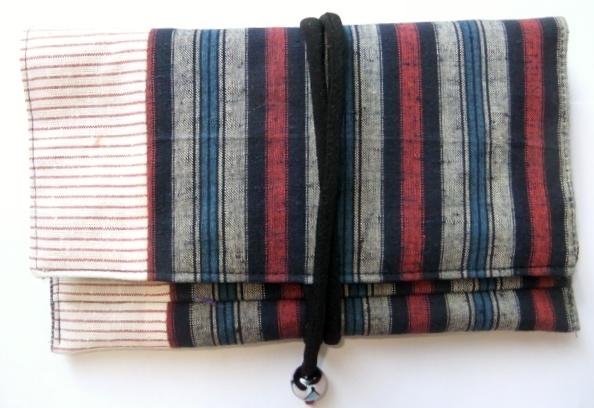 四国の土佐紬で作った和風お財布 395