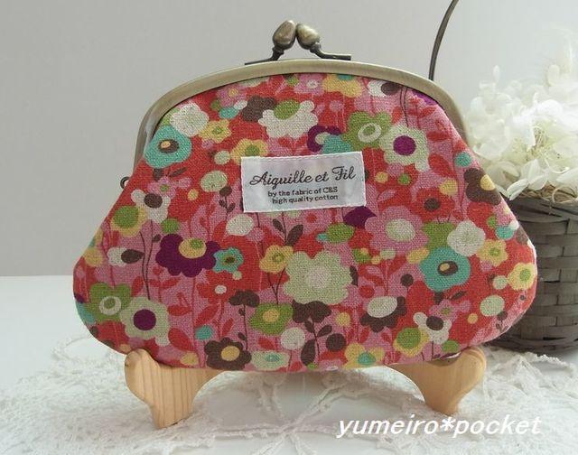 ほんわか花柄な親子がま口財布(小)*ピンク