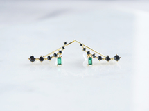 【Sterling silver 925】Black CZ Ear Climber