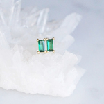 【Sterling silver 925】Rectangle Emerald CZ Tiny Stud Earrings