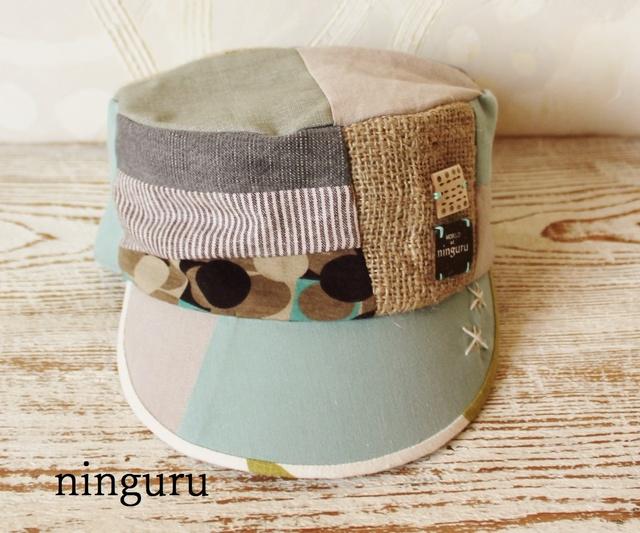 コーヒー麻袋×ミントグリーン・水玉のKEPI